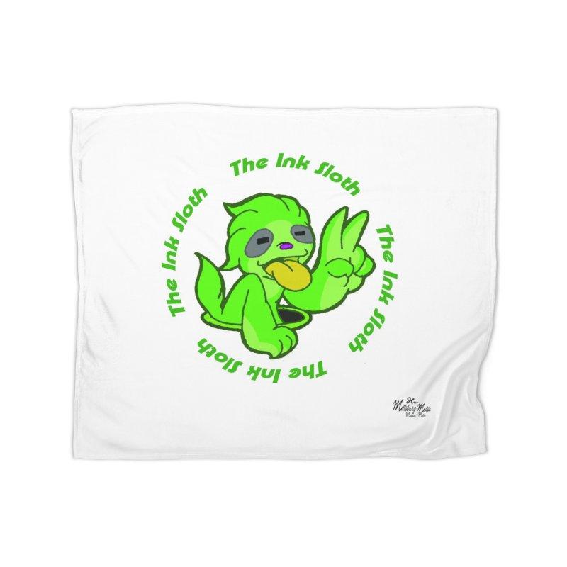 The Ink Sloth (Standard Logo) Home Fleece Blanket Blanket by MillsburyMedia's Artist Shop