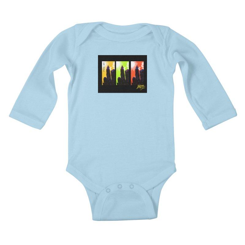 CLT Charlotte City Kids Baby Longsleeve Bodysuit by MillsburyMedia's Artist Shop