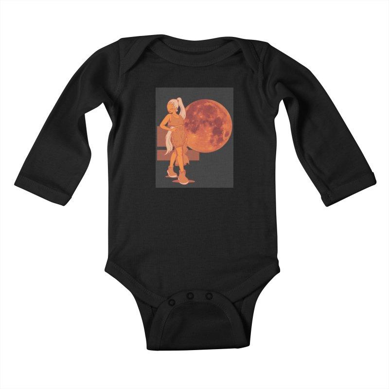 Red Moon Kids Baby Longsleeve Bodysuit by MillsburyMedia's Artist Shop