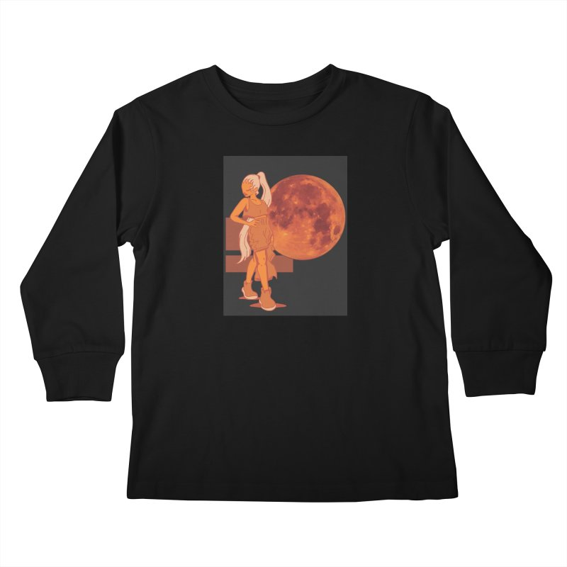 Red Moon Kids Longsleeve T-Shirt by MillsburyMedia's Artist Shop