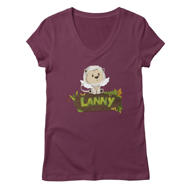 Lanny the Lion Women's V-Neck by Mimundogames's Artist Shop