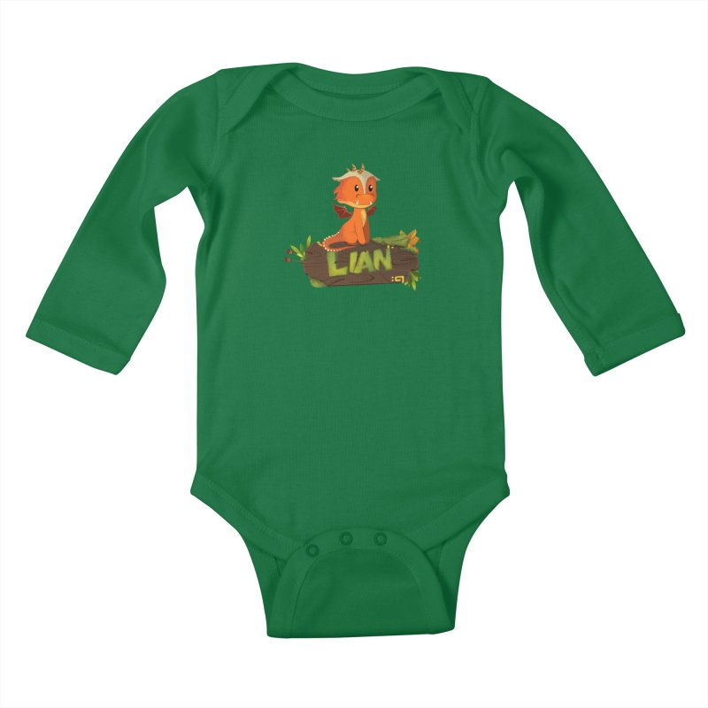 Lian the Dragon Kids Baby Longsleeve Bodysuit by Mimundogames's Artist Shop