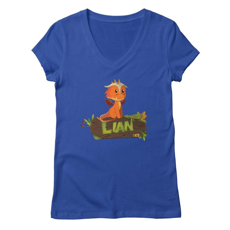 Lian the Dragon Women's V-Neck by Mimundogames's Artist Shop