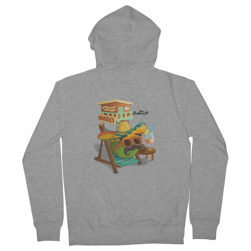Juan at Miami Beach Women's French Terry Zip-Up Hoody by Mimundogames's Artist Shop