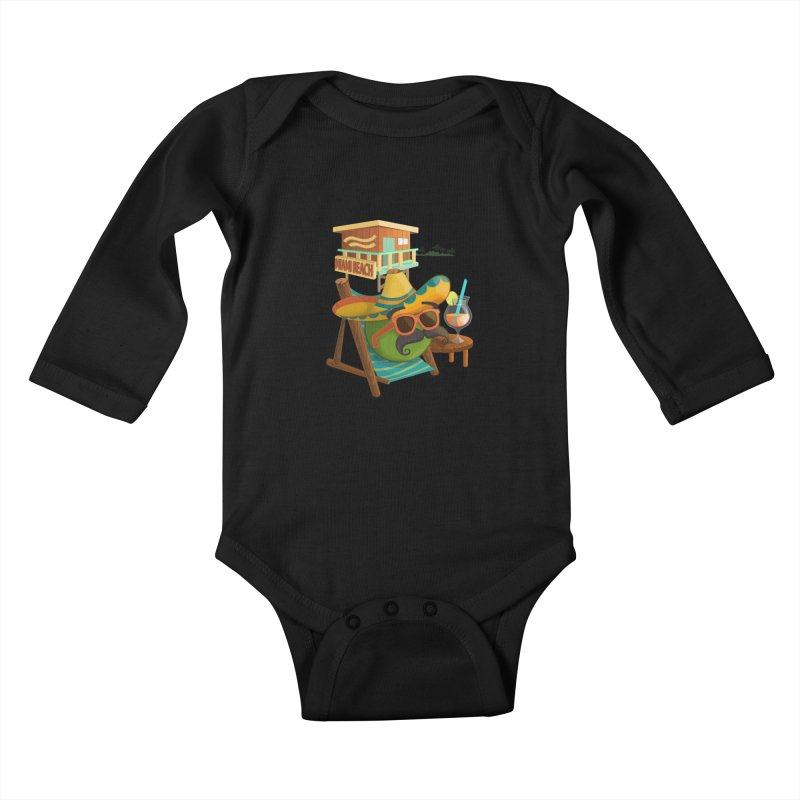 Juan at Miami Beach Kids Baby Longsleeve Bodysuit by Mimundogames's Artist Shop