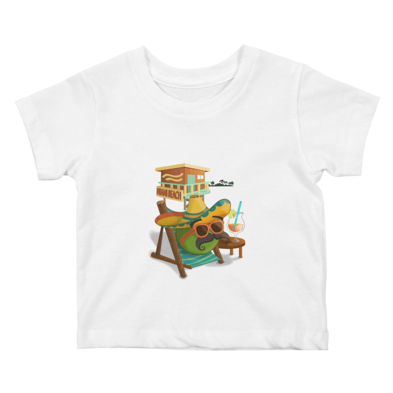 Juan at Miami Beach Kids Baby T-Shirt by Mimundogames's Artist Shop