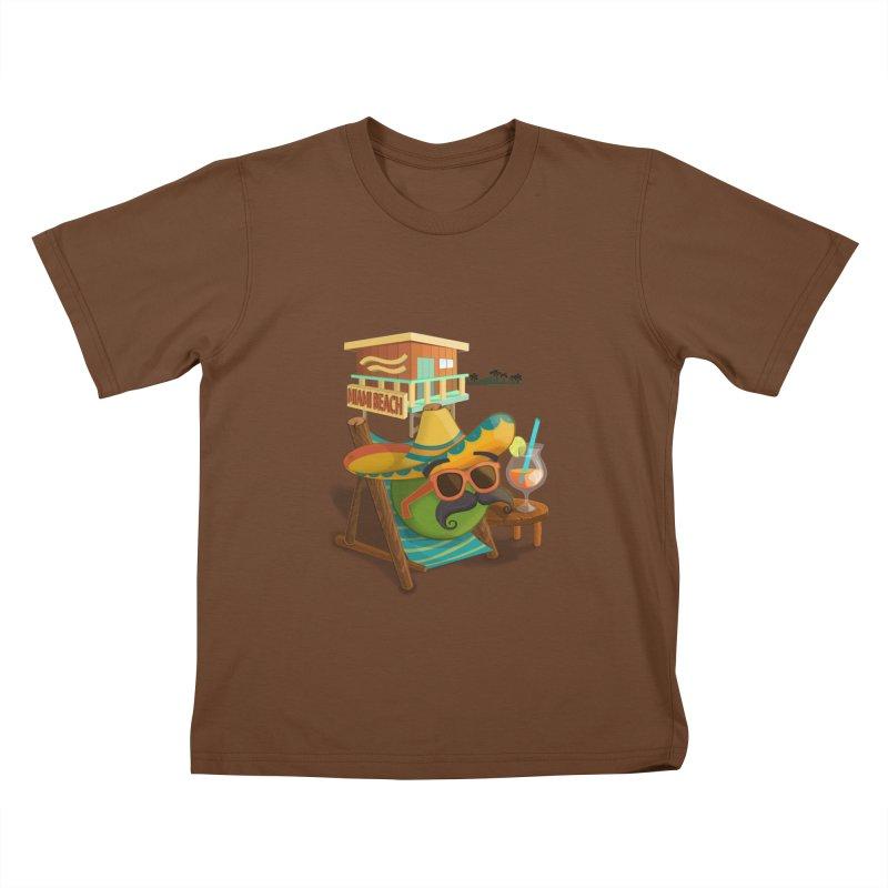 Juan at Miami Beach Kids T-Shirt by Mimundogames's Artist Shop