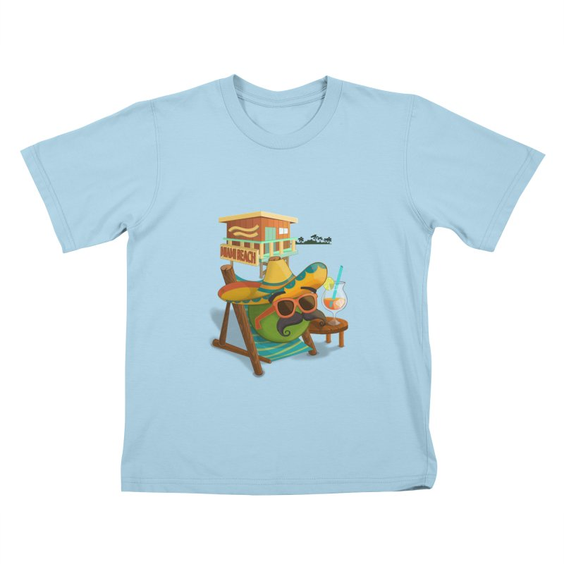 Juan at Miami Beach Kids T-Shirt by Mimundogames's Artist Shop