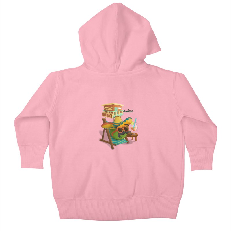 Juan at Miami Beach Kids Baby Zip-Up Hoody by Mimundogames's Artist Shop