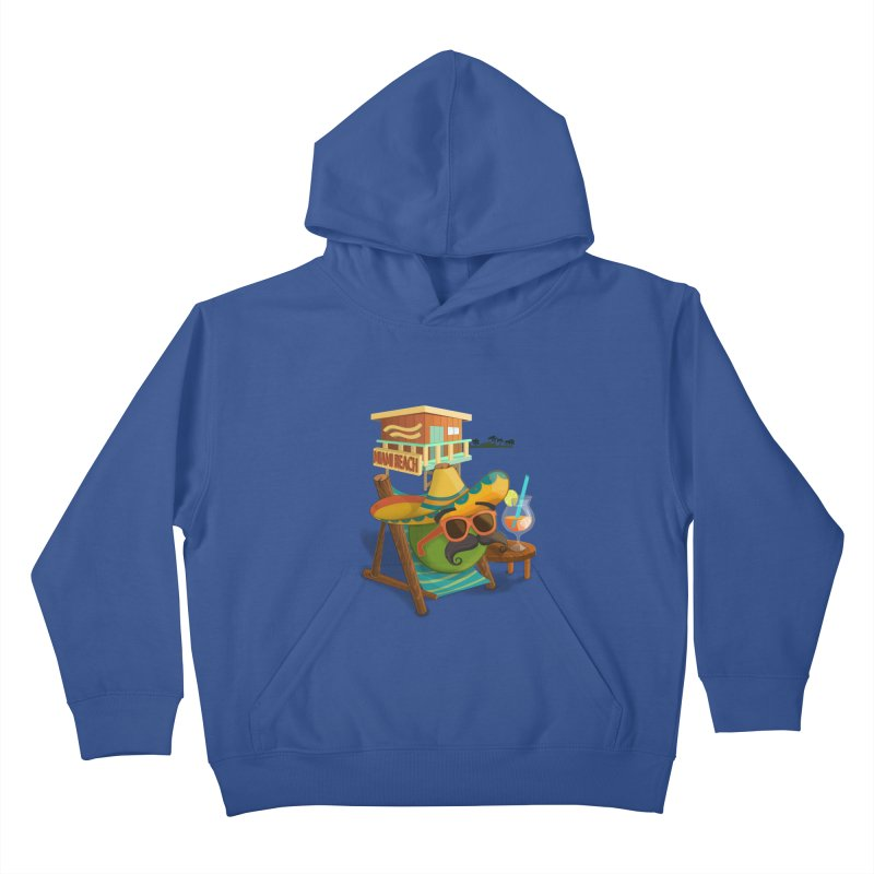 Juan at Miami Beach Kids Pullover Hoody by Mimundogames's Artist Shop