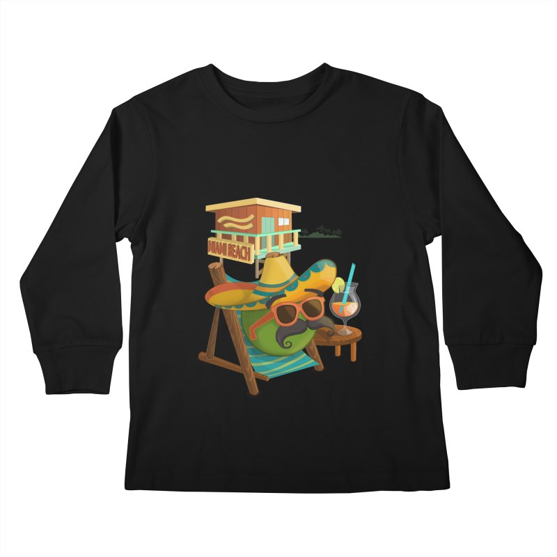 Juan at Miami Beach Kids Longsleeve T-Shirt by Mimundogames's Artist Shop
