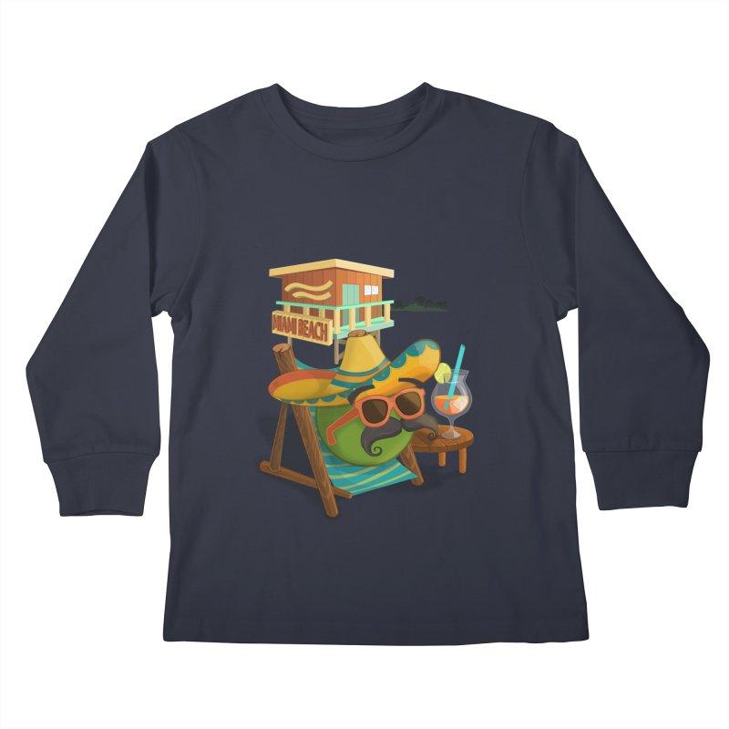 Juan at Miami Beach Kids Longsleeve T-Shirt by Mimundogames's Artist Shop
