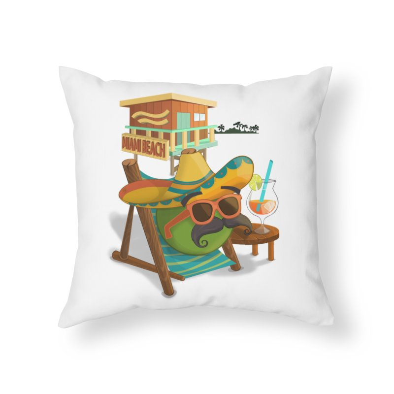 Juan at Miami Beach Home Throw Pillow by Mimundogames's Artist Shop
