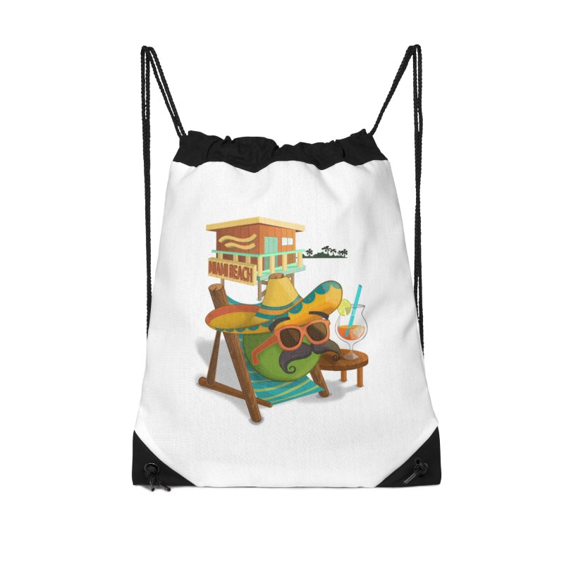Juan at Miami Beach Accessories Drawstring Bag Bag by Mimundogames's Artist Shop