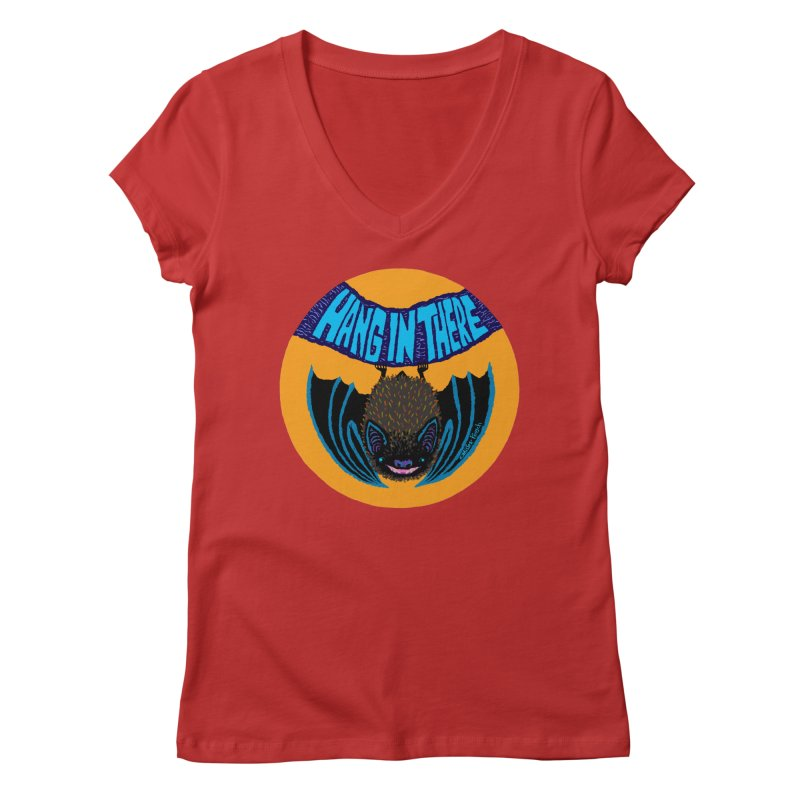 Hang In There Women's V-Neck by Mister Reusch's Artist Shop