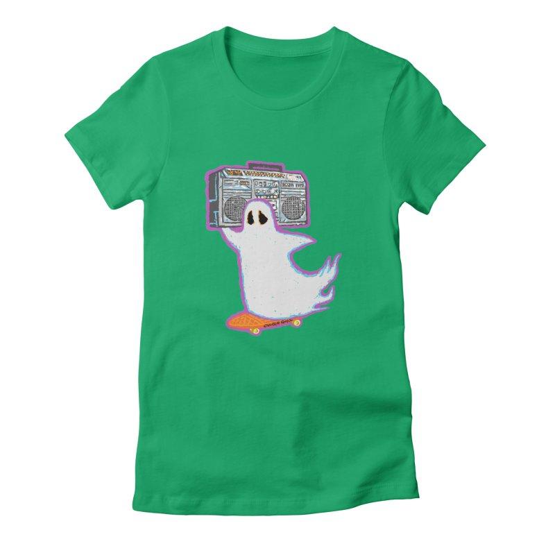 BOOmbox Women's Fitted T-Shirt by Mister Reusch's Artist Shop