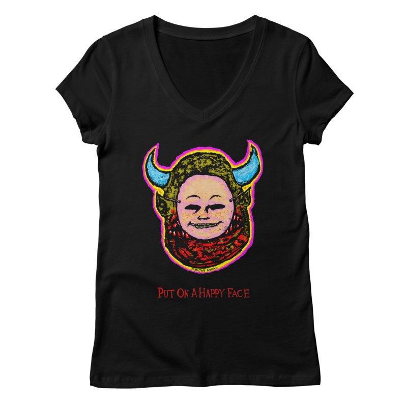 Put On A Happy Face Women's V-Neck by Mister Reusch's Artist Shop
