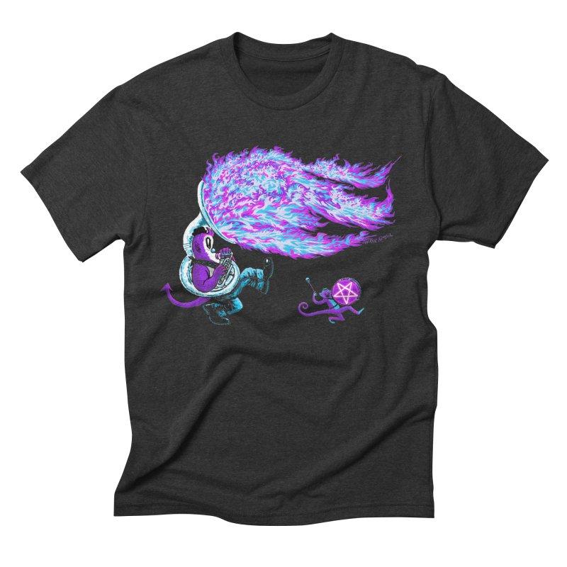 Tuba Demon & Monkey Drummer Men's Triblend T-shirt by Mister Reusch's Artist Shop