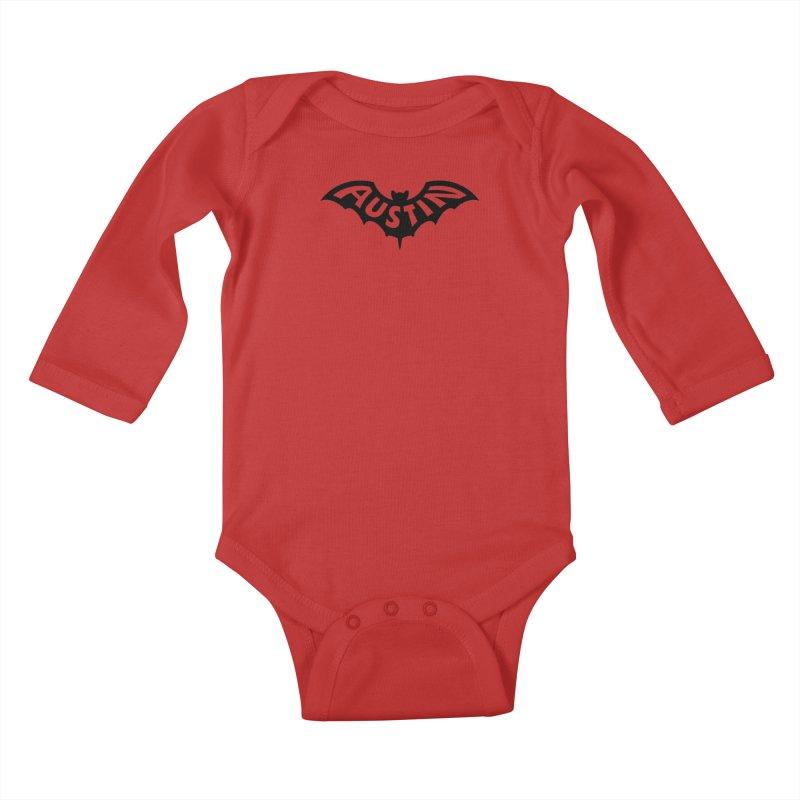 Austin Bat Logo (black print) Kids Baby Longsleeve Bodysuit by Modernist Press's Artist Shop