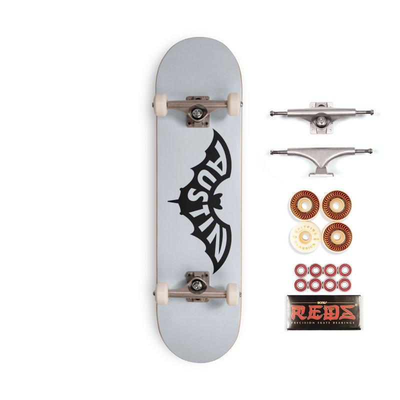 Austin Bat Logo (black print) Accessories Skateboard by Modernist Press's Artist Shop