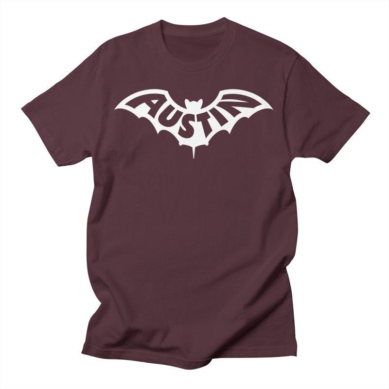 Austin Bat Logo (white print) Men's T-Shirt by Modernist Press's Artist Shop