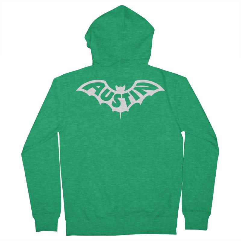 Austin Bat Logo (white print) Men's Zip-Up Hoody by Modernist Press's Artist Shop