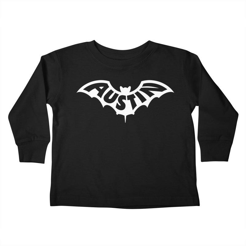 Austin Bat Logo (white print) Kids Toddler Longsleeve T-Shirt by Modernist Press's Artist Shop