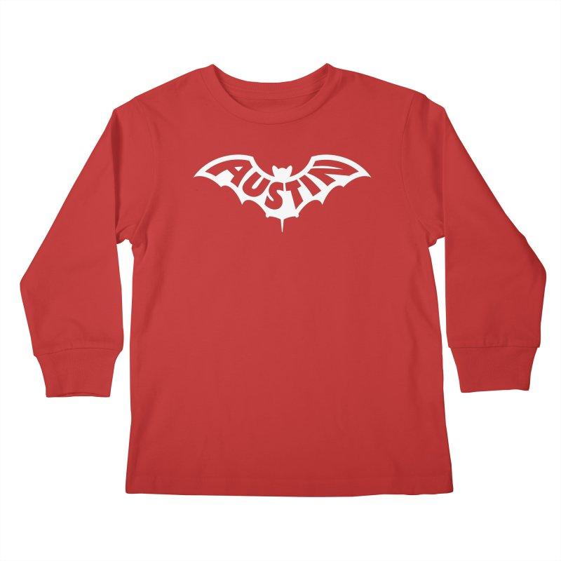 Austin Bat Logo (white print) Kids Longsleeve T-Shirt by Modernist Press's Artist Shop