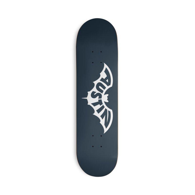 Austin Bat Logo (white print) Accessories Skateboard by Modernist Press's Artist Shop