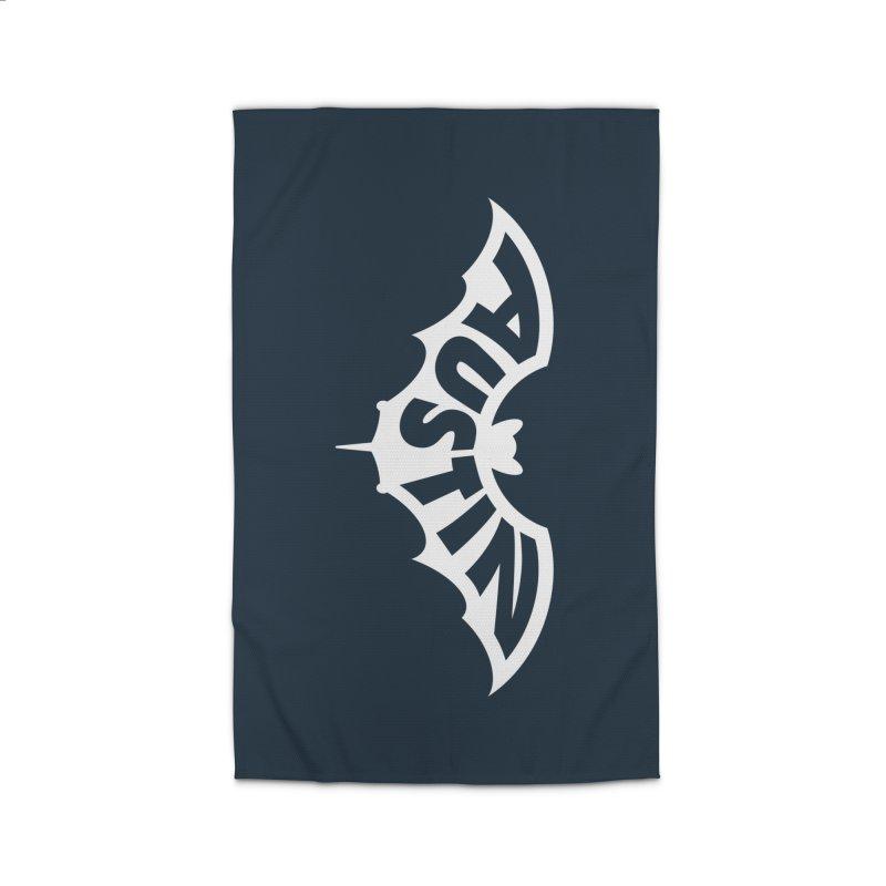 Austin Bat Logo (white print) Home Rug by Modernist Press's Artist Shop