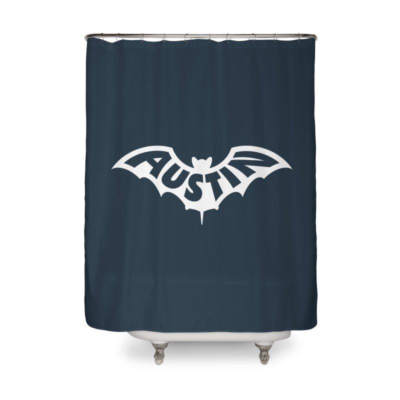 Austin Bat Logo (white print) Home Shower Curtain by Modernist Press's Artist Shop