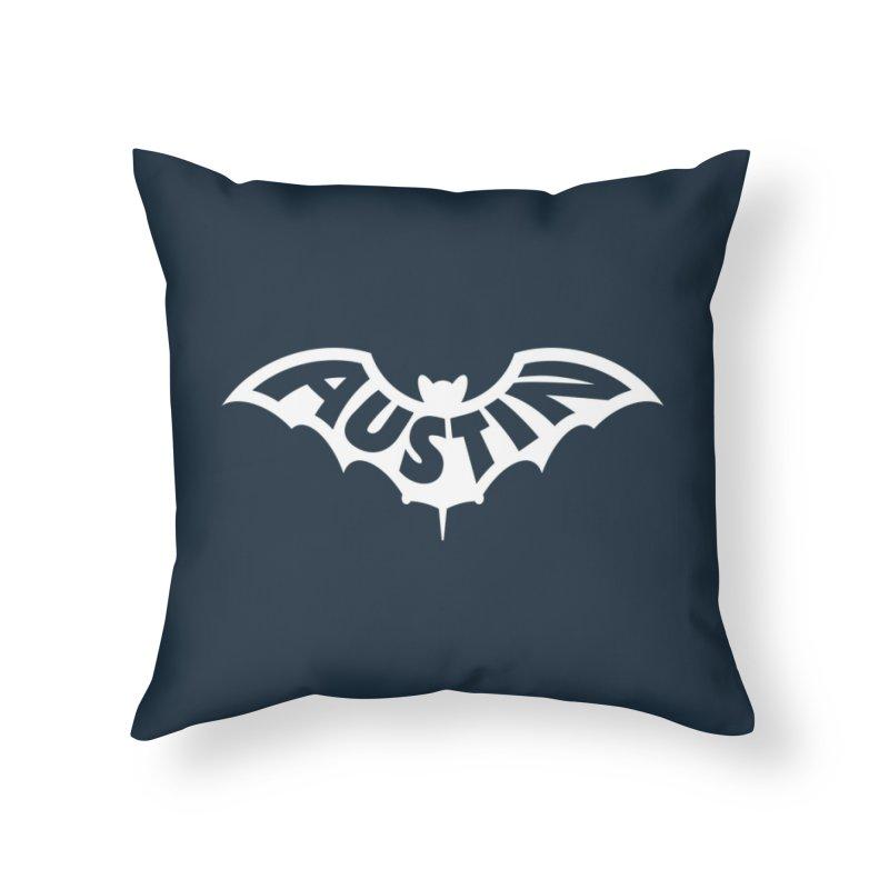 Austin Bat Logo (white print) Home Throw Pillow by Modernist Press's Artist Shop
