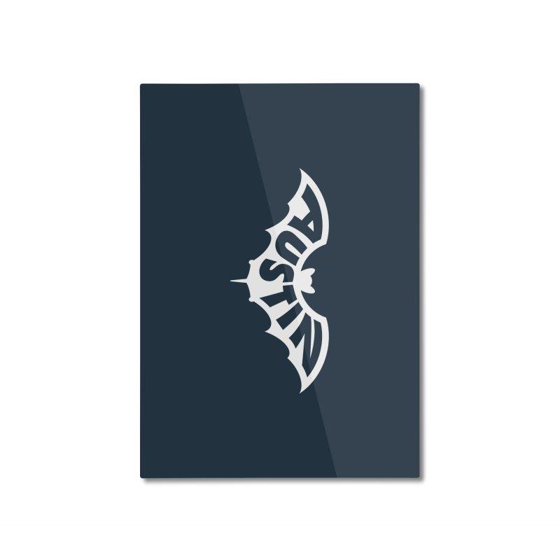 Austin Bat Logo (white print) Home Mounted Aluminum Print by Modernist Press's Artist Shop