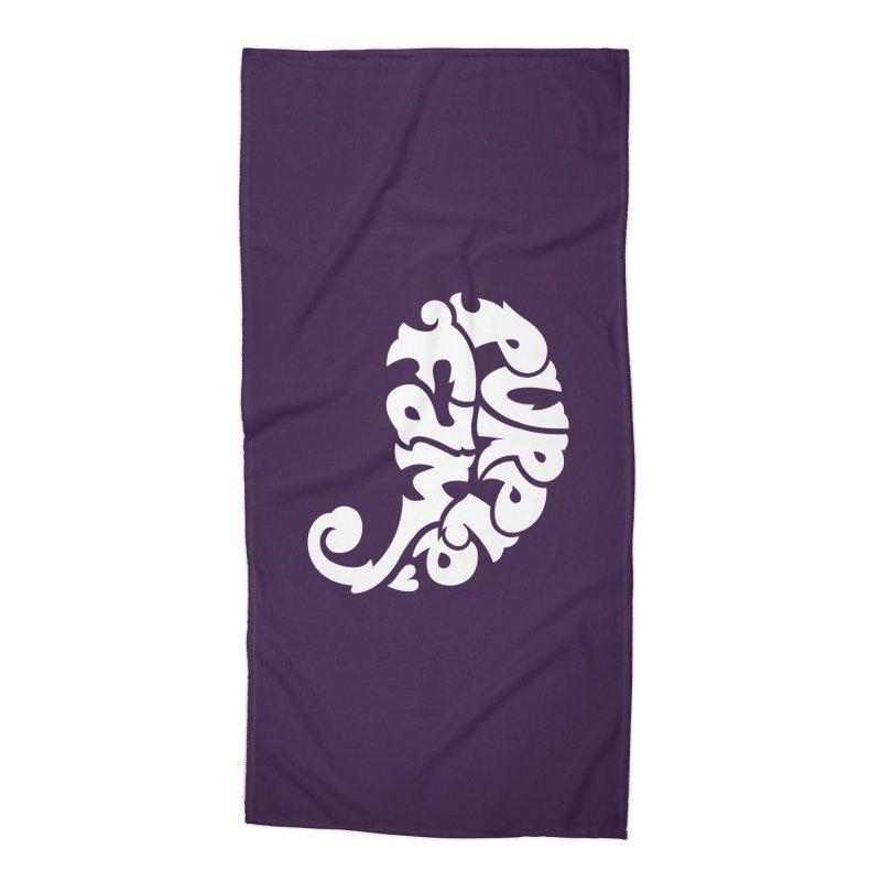 Purple Fam Logo (white print) Accessories Beach Towel by Modernist Press's Artist Shop