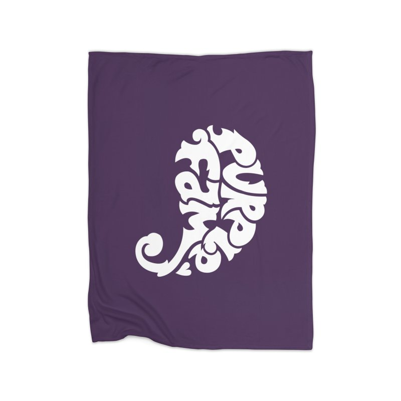 Purple Fam Logo (white print) Home Blanket by Modernist Press's Artist Shop
