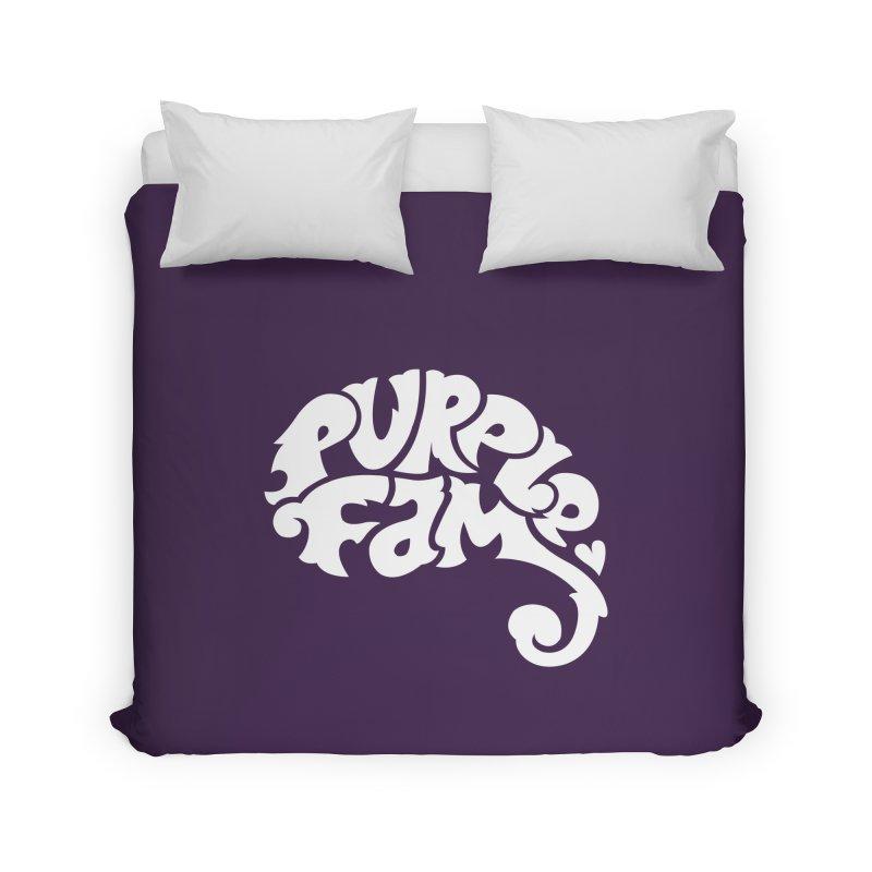 Purple Fam Logo (white print) Home Duvet by Modernist Press's Artist Shop