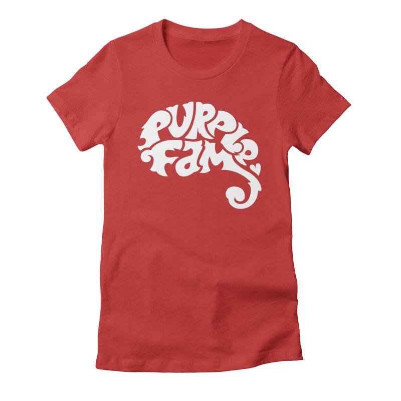Purple Fam Logo (white print) Women's T-Shirt by Modernist Press's Artist Shop