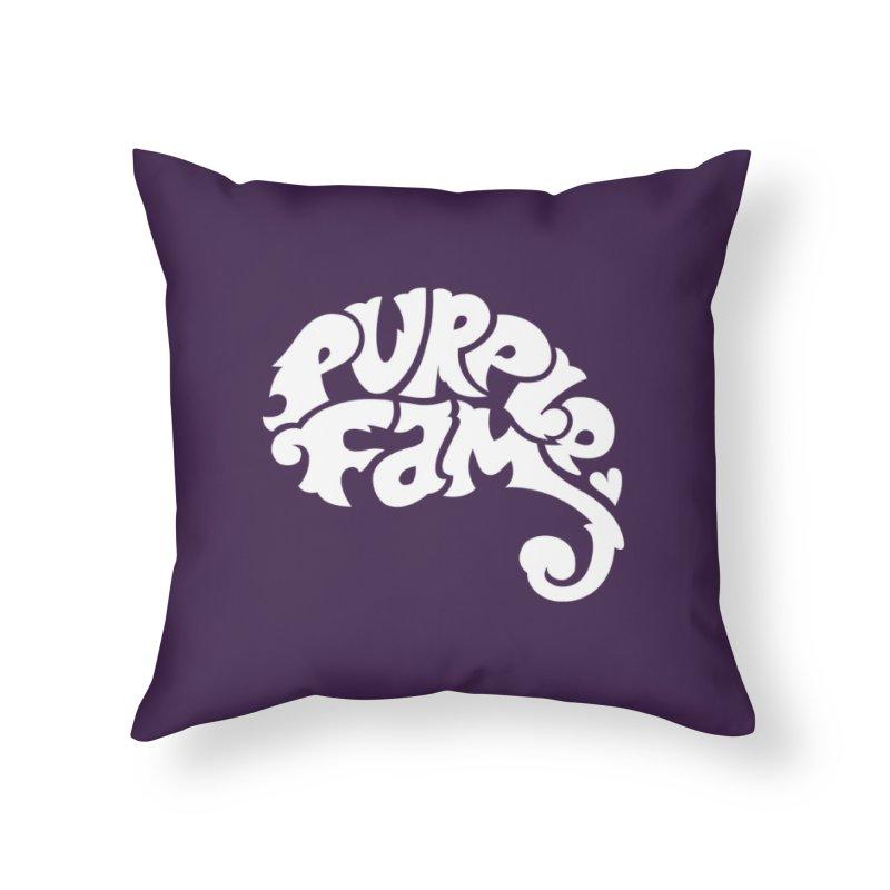 Purple Fam Logo (white print) Home Throw Pillow by Modernist Press's Artist Shop