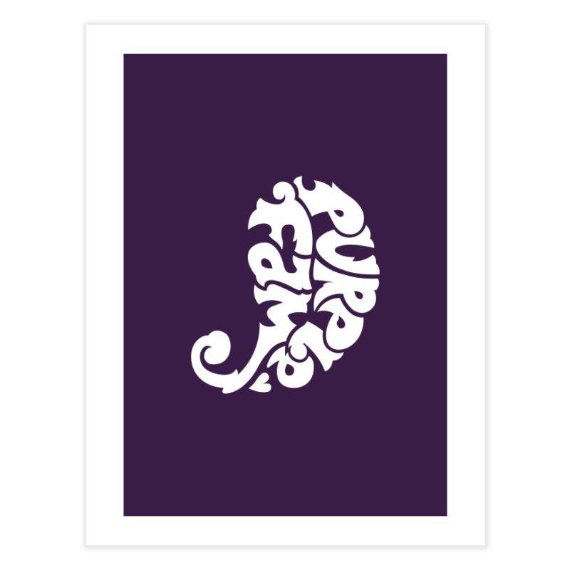 Purple Fam Logo (white print) Home Fine Art Print by Modernist Press's Artist Shop