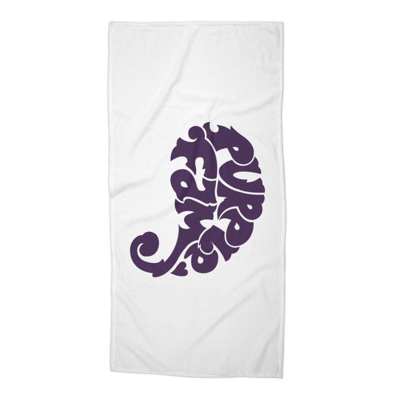 Purple Fam Logo (purple print) Accessories Beach Towel by Modernist Press's Artist Shop