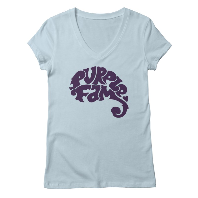 Purple Fam Logo (purple print) Women's V-Neck by Modernist Press's Artist Shop