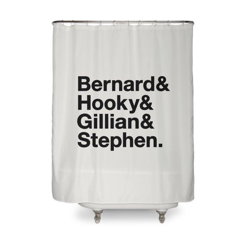 New Order Text Design (black print) Home Shower Curtain by Modernist Press's Artist Shop