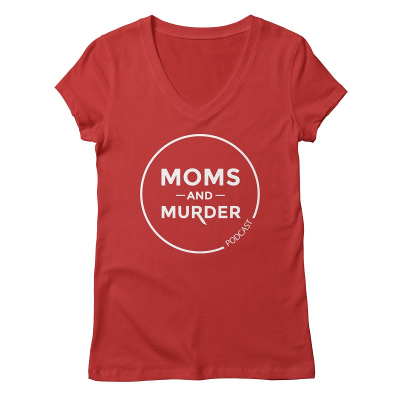 Moms and Murder Logo Ring in Pink Women's V-Neck by Moms And Murder Merch