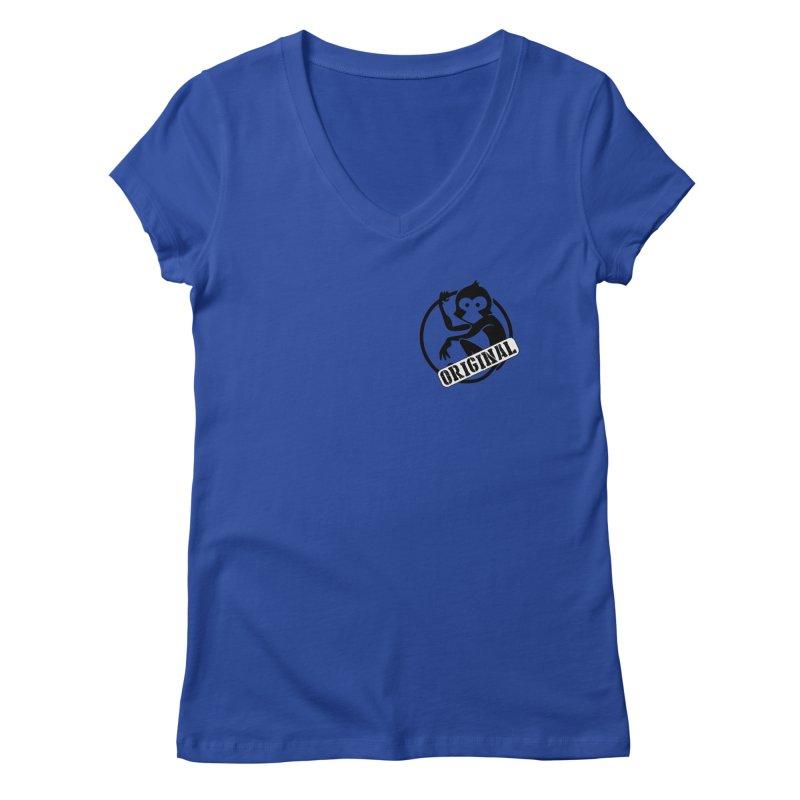 Monkey Original Small Logo Women's Regular V-Neck by The m0nk3y Merchandise Store