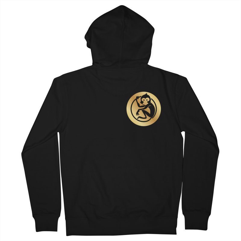Monkey Gold Small Logo Women's Zip-Up Hoody by The m0nk3y Merchandise Store