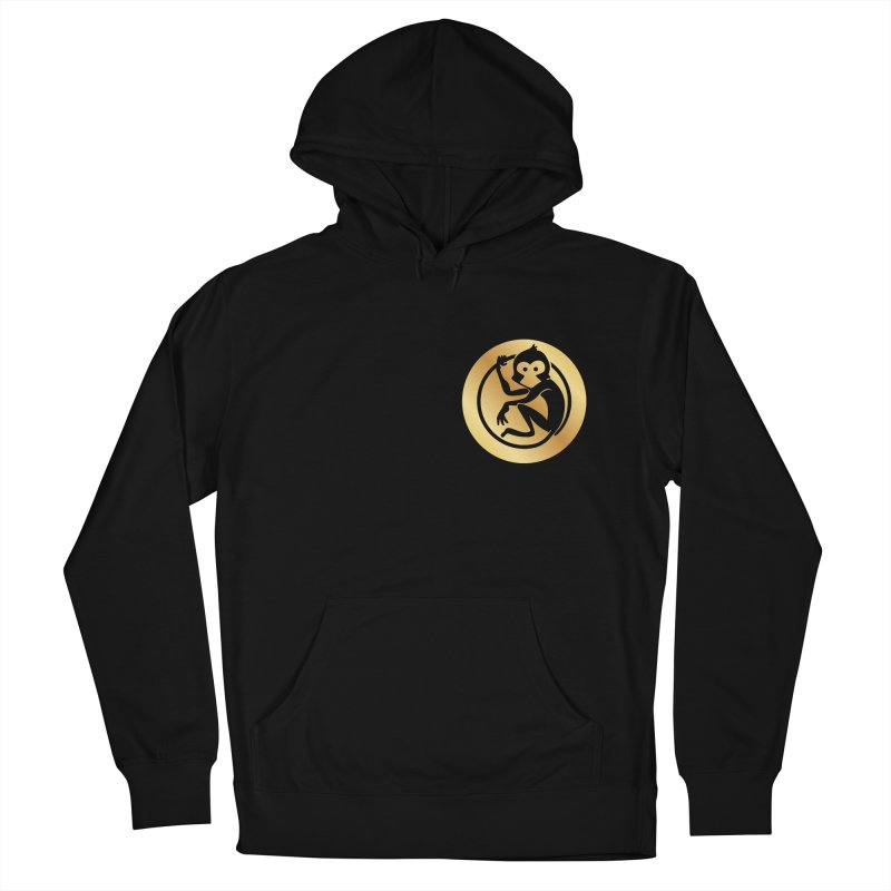 Monkey Gold Small Logo Women's French Terry Pullover Hoody by The m0nk3y Merchandise Store