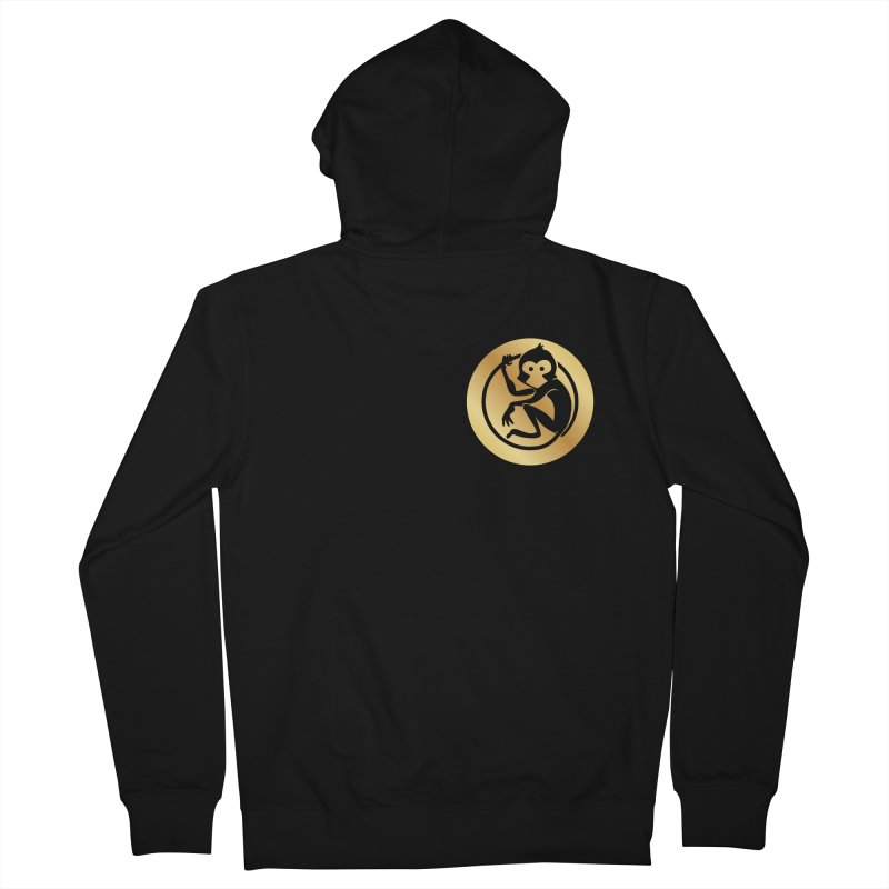 Monkey Gold Small Logo Men's French Terry Zip-Up Hoody by The m0nk3y Merchandise Store