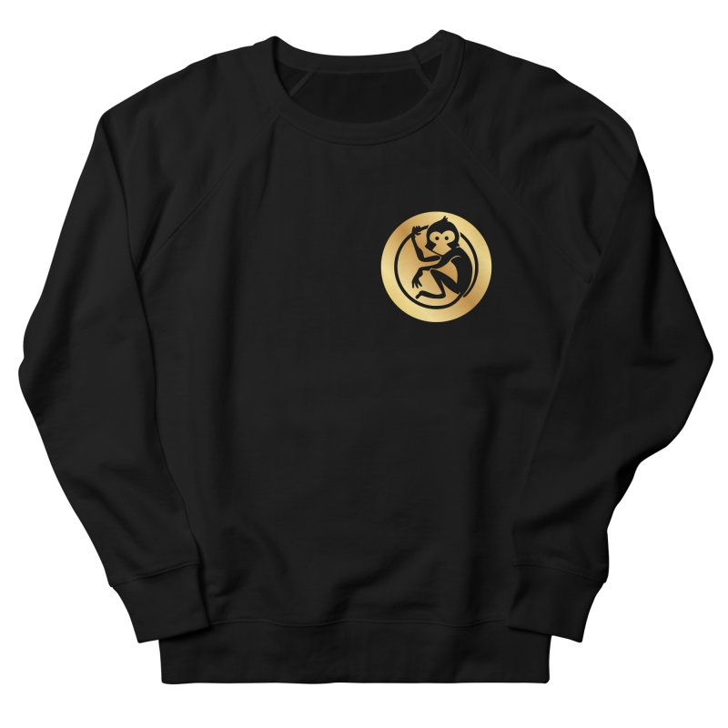 Monkey Gold Small Logo Women's French Terry Sweatshirt by The m0nk3y Merchandise Store