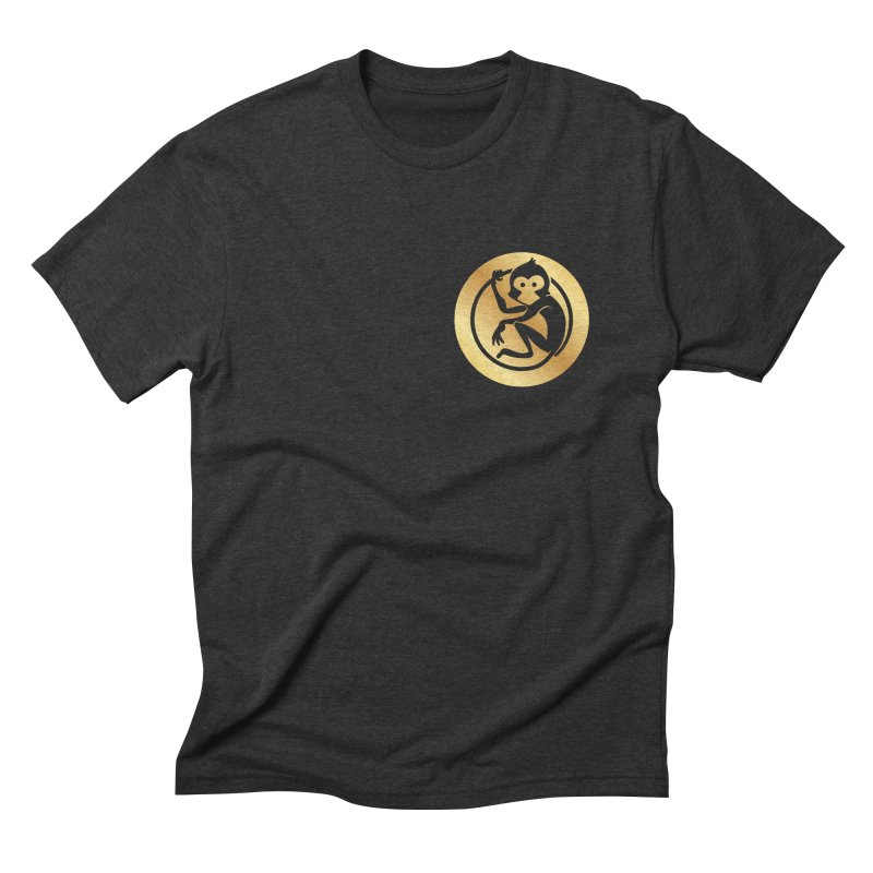 Monkey Gold Small Logo Men's Triblend T-Shirt by The m0nk3y Merchandise Store