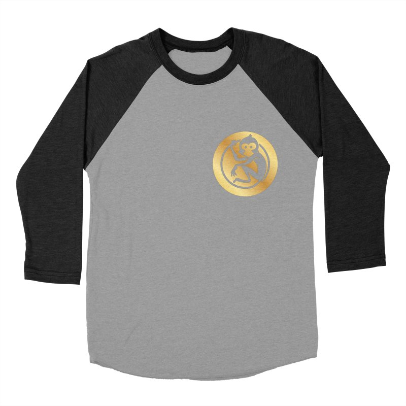 Monkey Gold Small Logo Men's Baseball Triblend Longsleeve T-Shirt by The m0nk3y Merchandise Store